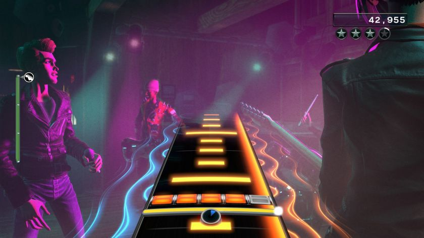 Rock Band 4's guitar solo mode in all its... well, yellow linedness