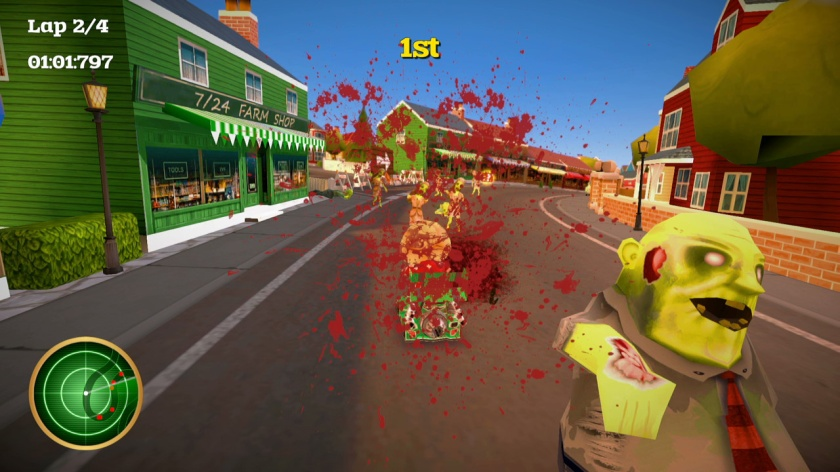 There are also zombies randomly dotted around certain tracks, for reasons