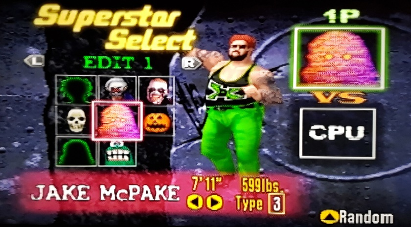 An early incarnation of Jake McPake, as seen in WWF No Mercy on the Nintendo 64