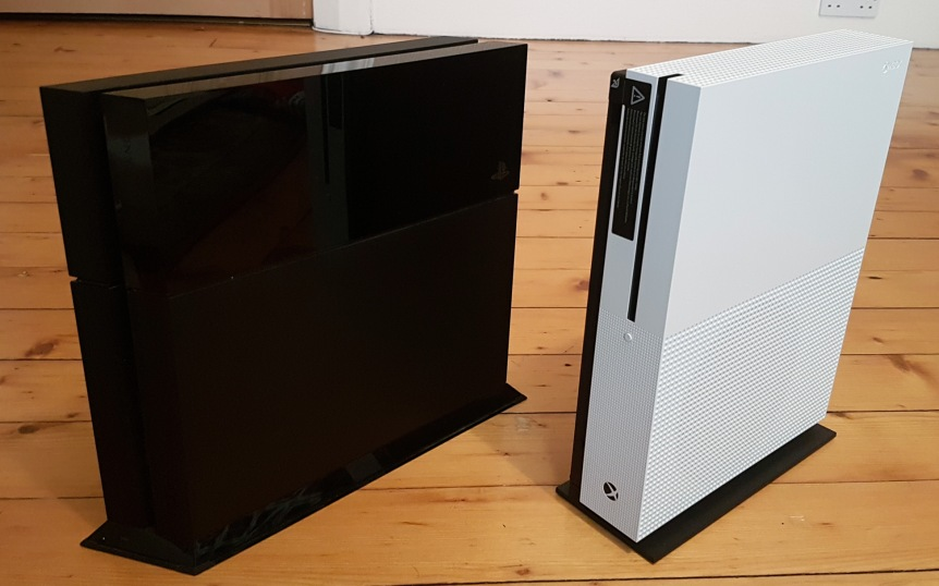 The PS4 is a little shorter than the Xbox One S, but Microsoft's console is smaller overall