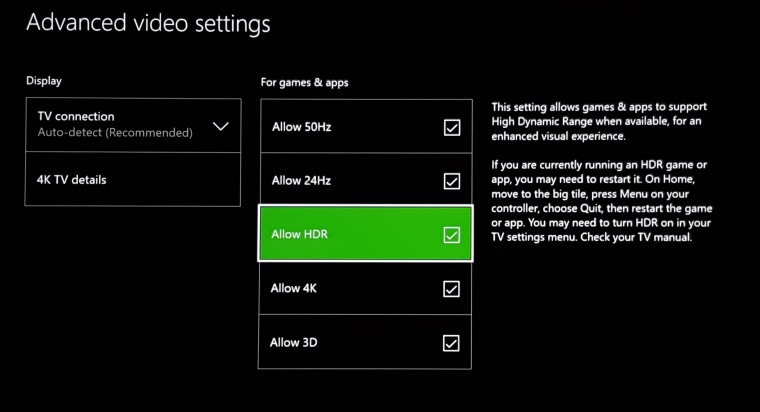 The Xbox One S's video settings after the day one update
