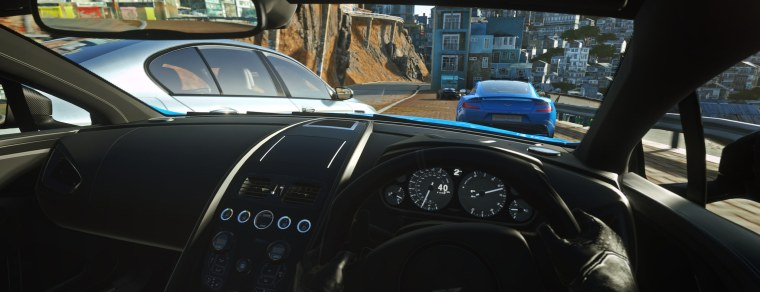 This is a screenshot that Sony legitimately used on its blog to promote Driveclub VR. The filename is 'DC VR 4K Pano AM Vanquish India 03' so it's not like it's a normal Driveclub screen's been used by mistake. To be frank, it's a fucking lie and they should be called out on it
